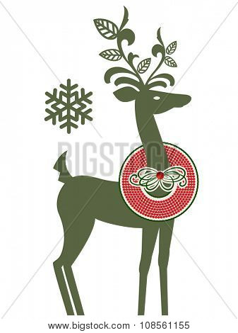 Whimsical reindeer with wreath around his neck