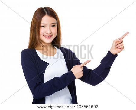 Asian Young Woman with two finger point up