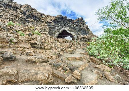 Lava cave Kirkjan at Dimmuborgir, Myvatn area - Iceland