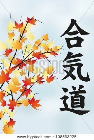 Autumn Tree With Leaves And The Aikido Hieroglyph.