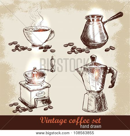 Vintage hand drawn coffee set with coffee beans.