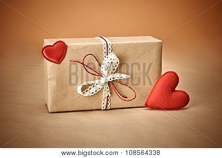 Love red hearts, Valentines Day.Handcraft gift box