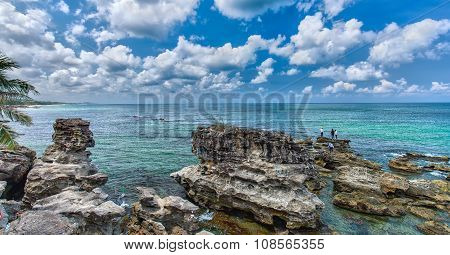 Beautiful limestone Vietnam Phu Quoc sea