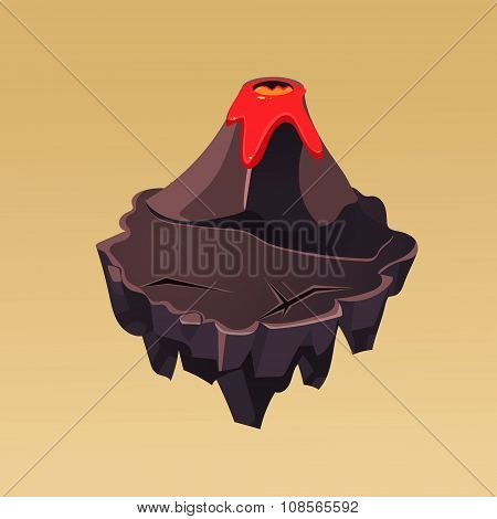 Cartoon Stone Isometric Island with Volcano for Game, Vector Illustration