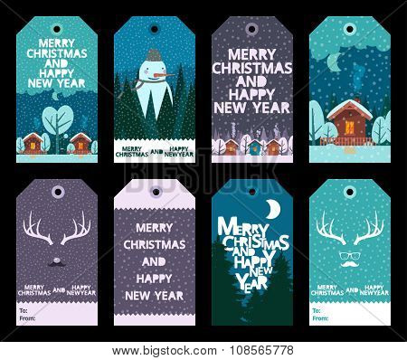 Christmas Set with tags with winter and christmas illustrations and wishes. Template for greeting scrap booking, congratulations, invitations.