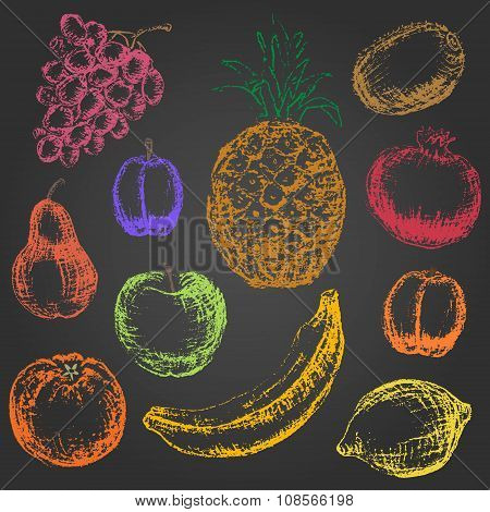 Set Of Hand Drawn Colored Chalk Fruit