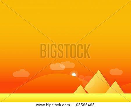 Wallpaper Landscape of Desert and Pyramids, Vector Illustration