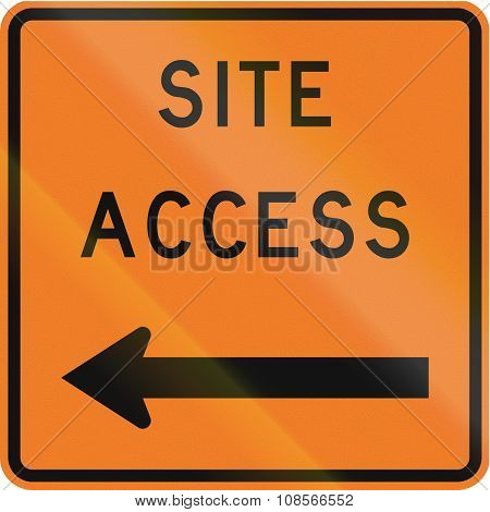 New Zealand Road Sign - Works Site Access On Left