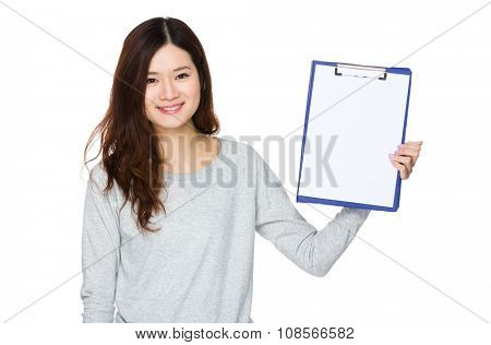 Asian Woman show with clipboard