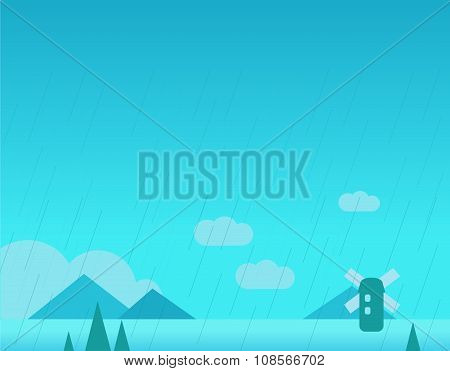 Wallpaper Landscape with Mountains, Rain and Windmill, Vector Illustration