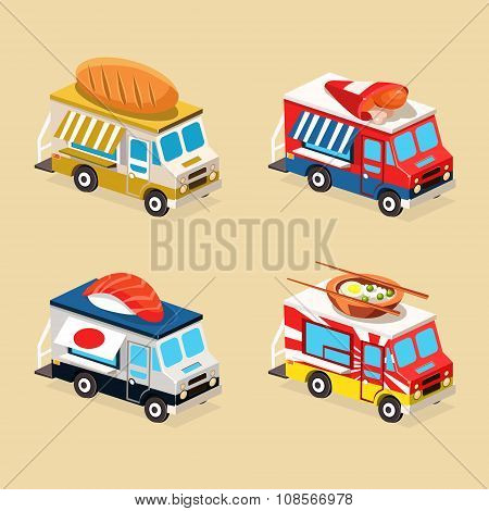 Food Truck Designs. Collection of Vector Illustrations.