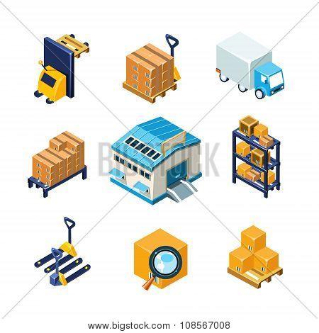 Warehouse and Logistics Equipment Icon Set. Flat Vector Illustration