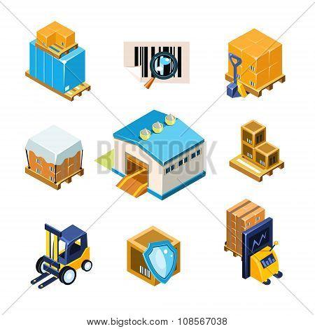 Warehouse and Logistics Equipment Icon Set. Vector Illustration