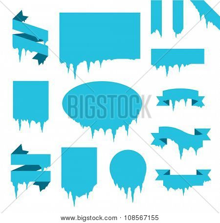 Collection of frozen icicle snow winter vector banner. Icicle vector snow banners, snow ribbon, snow label, icicle emblem. Winter New Year sale, Christmas sale banners. Vector banners isolated