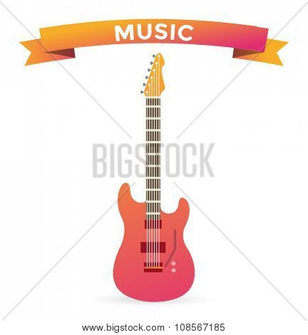 Acoustic and electric guitars vector icon. Guitar isolated icon vector illustration. Guitar isolated on white background. Guitar vector silhouette. Music, concert, sound, fun, guitar. Vector guitar