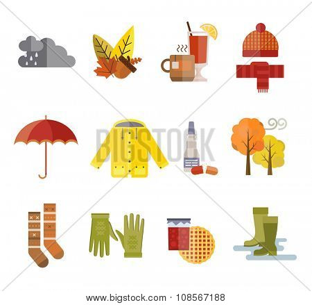 Collection of autumn clothes items. Clothes related to autumn and winter. Clothes autumn, winter clothes. Acorns, leaves and trees autumn, rain and clouds. Bad autumn cold weather clothes. Red, yellow