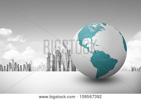 Earth globe with city background