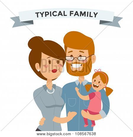 Small girl, woman and man happy family couple. Women and men in love, modern family, families with baby kid. Modern family portrait. Typical family. People couple, people family together concept