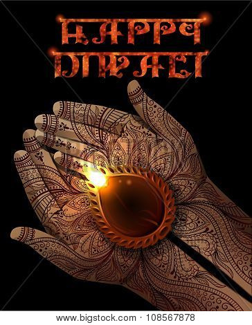 Diwali Background With Diya In Hands