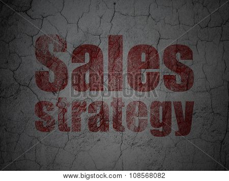 Advertising concept: Sales Strategy on grunge wall background