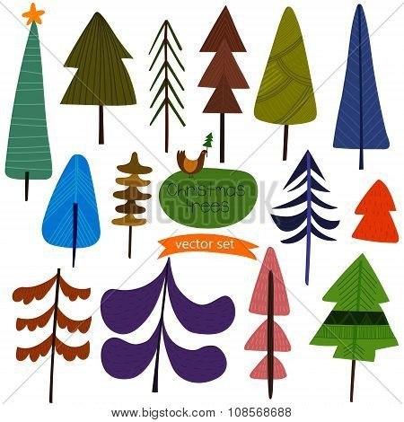 Christmas Trees- Stylish New Year And Christmas Set In Vector With A Lot Of Different X-mas Trees