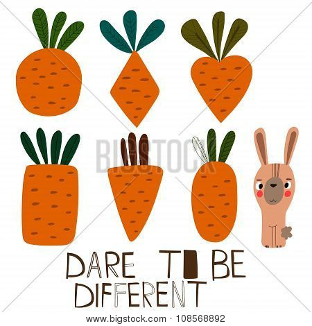 Dare To Be Different-concept Card With Cute Rabbit And Different Carrot. Lovely Childish Background