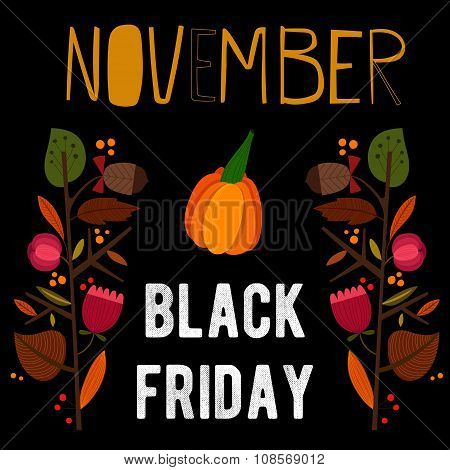 Concept Black Friday Sale Poster In A Colorful Style. November Sale. Flyer. Advertising Template