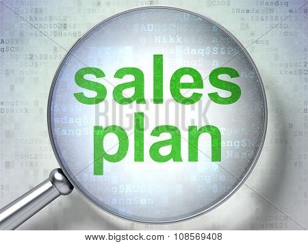 Marketing concept: Sales Plan with optical glass