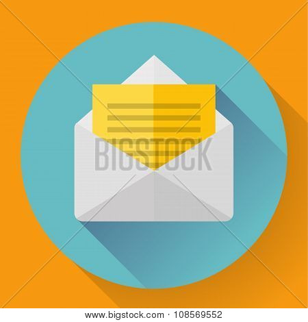 Envelope with paper sheet - flat style concept of new email