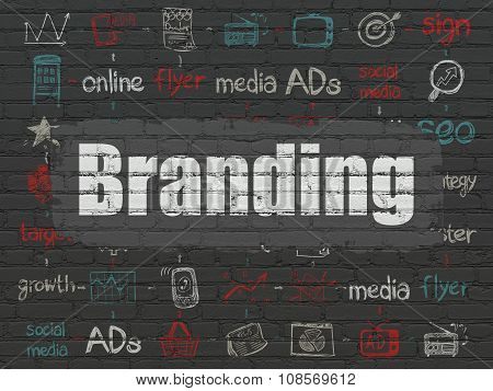 Marketing concept: Branding on wall background