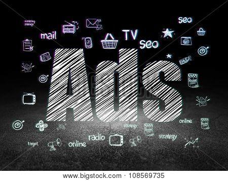 Advertising concept: Ads in grunge dark room