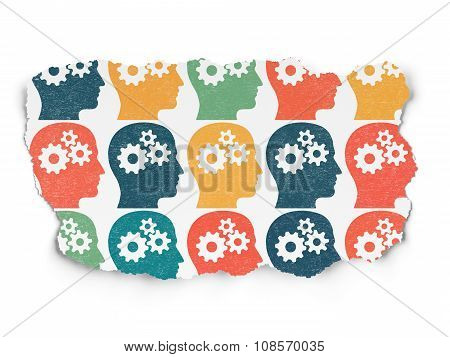 Advertising concept: Head With Gears icons on Torn Paper background