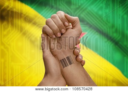 Barcode Id Number On Wrist Of Dark Skinned Person And National Flag On Background - French Guiana