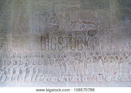 Bas-reliefs In Bakan Gallery Of Angkor Wat  Complex
