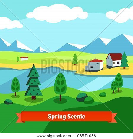 Spring rural farm riverside scenic with mountains
