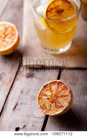 Lemonade in glasses and bottles Cider
