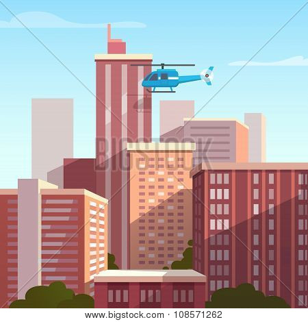 Sunset city landscape with flying helicopter