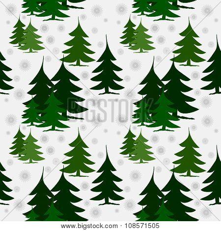 Seamless pattern green fir trees on snow