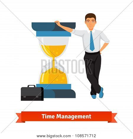 Time management concept. Businessman