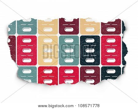 Health concept: Pills Blister icons on Torn Paper background
