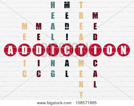 Medicine concept: Addiction in Crossword Puzzle