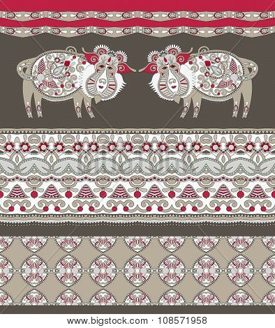 Ukrainian traditional tribal art in karakoko style, folk ethnic