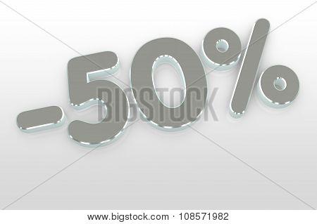 Silver  Fifty Percent Discount Symbol