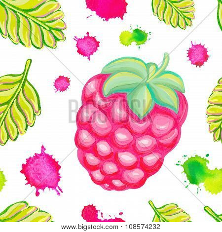 Seamless pattern with raspberry.