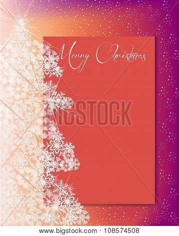 Snowflakes Christmas Tree And Card For Text Orange Pink