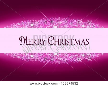 Christmas Purple Pink Banner With Snowflakes And Text
