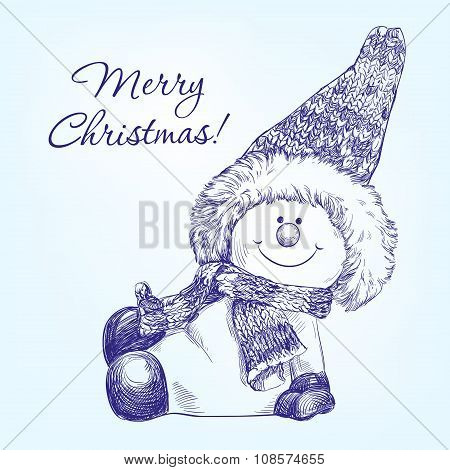 funny christmas snowman   hand drawn vector llustration  realistic  sketch