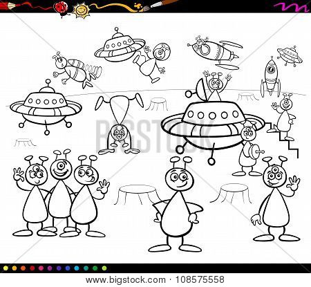 Aliens Cartoon Coloring Book