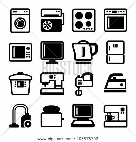 Household Appliances Icons Set on White Background. Vector