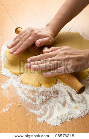 Hand Rolling Dough For Cookies, Closeup